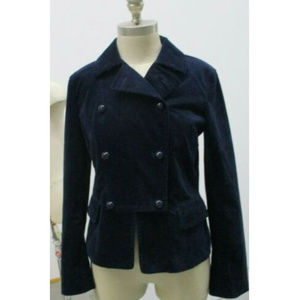 Talbots Womens Blazer Blue Velvet Petite Size 6